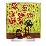 Tarot Of The Younger Self Eight Of Pentacles Shower Curtain