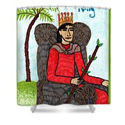 Tarot Of The Younger Self King Of Wands Shower Curtain