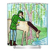 Tarot Of The Younger Self Knight Of Cups Shower Curtain