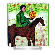 Tarot Of The Younger Self Knight Of Pentacles Shower Curtain
