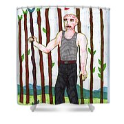 Tarot Of The Younger Self Nine Of Wands Shower Curtain