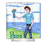 Tarot Of The Younger Self Page Of Cups Shower Curtain