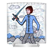 Tarot Of The Younger Self Page Of Swords Shower Curtain