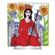 Tarot Of The Younger Self Queen Of Wands Shower Curtain