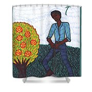 Tarot Of The Younger Self Seven Of Pentacles Shower Curtain
