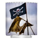 Tattered Sail And Pirate Flag Shower Curtain