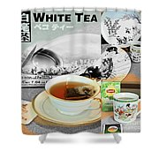 Tea Collage With Brush  Shower Curtain
