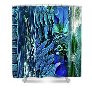 Teal Abstract Shower Curtain