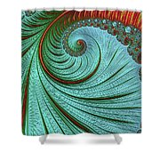 Teal And Red Shower Curtain