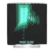 Teal Map Of Rhode Island Shower Curtain