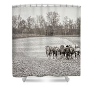 Team Of Six Horses Tilling The Fields Shower Curtain
