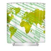 Tech Worldmap With Binary Code Shower Curtain