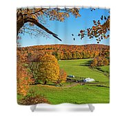 Tending To The Farm Woodstock Vermont Vt Vibrant Autumn Foliage Yellow And Orange Shower Curtain