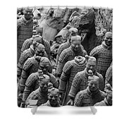 Terra Cotta Warriors In Black And White, Xian, China Shower Curtain