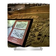 Terra Cotta Warriors In Pit 3 Ruins With Diagram Shower Curtain