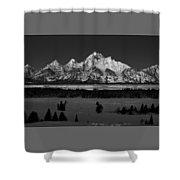Teton Monochrome Moon-set  Shower Curtain