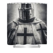 Teutonic Knight Black And White Shower Curtain