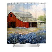Texas Blue Bonnets And Red Barn Shower Curtain
