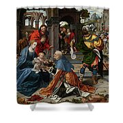 The Adoration Of The Magi With Donor  Shower Curtain