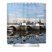 The Antique Bridge Of Tavira. Portugal Shower Curtain