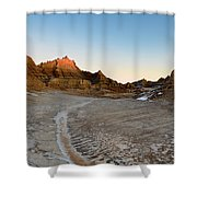 The Badlands And A Sunrise Shower Curtain