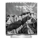 The Badlands In Black And White Shower Curtain