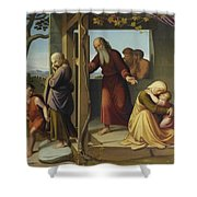 The Banishment Of Hagar  By Johann Friedrich Overbeck Shower Curtain