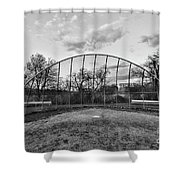 The Baseball Field Black And White Shower Curtain
