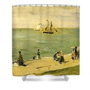 The Beach At Petit-dalles Also Known As On The Beach - 1873 - Virginia Museum Of Fine Arts Usa Shower Curtain