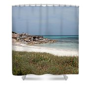 The Boathouse And The Beach Shower Curtain