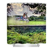 The Carousel Horses Escaping Shower Curtain
