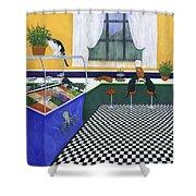The Cat Cafe Shower Curtain by Karen Zuk Rosenblatt