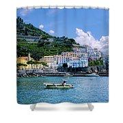The Colorful Amalfi Coast  Shower Curtain by Robert Bellomy