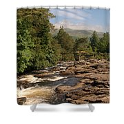 The Falls Of Dochart And Bridge At Killin In Scottish Highlands Shower Curtain