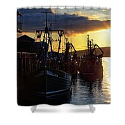 The Fishing Boats Of Oban - Scotland - Sunset Shower Curtain by Jason Politte