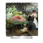 The Flower Vendor On The Quays In Paris Shower Curtain