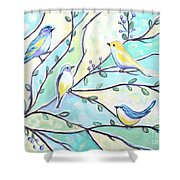 The Glass Birds Shower Curtain