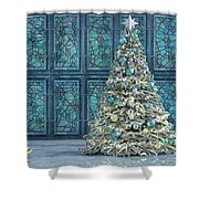 The Hoping Holiday Frog Shower Curtain