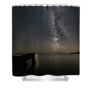 The Lion And The Light Of Mars Vertical Panorama Shower Curtain