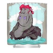 The Little Manatee  Shower Curtain