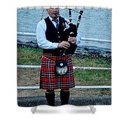 The Lone Piper Shower Curtain
