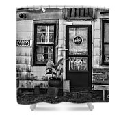 The Old Country Store Black And White Shower Curtain