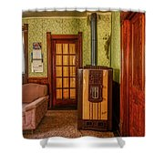 The Old Farmhouse Old Furnace And Woodwork Shower Curtain