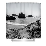 The Oregon Coast In Black And White Shower Curtain by Margaret Pitcher