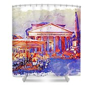 The Pantheon Rome Watercolor Streetscape Shower Curtain