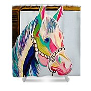 The Pink Horse Shower Curtain