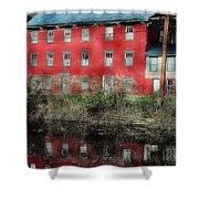 The Red House Along The Autumn Canal Shower Curtain