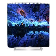 The Reed Flute Cave, In Guangxi Province, China Shower Curtain