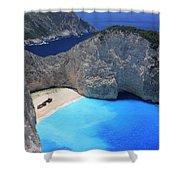 The Shipwreck Beach Zakynthos Greece Shower Curtain
