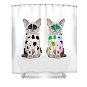 The Twins Dalmatian Cats Shower Curtain